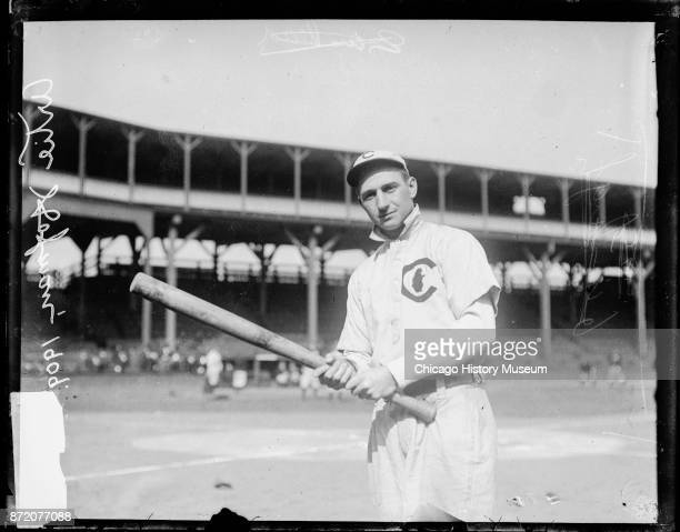 Portrait of baseball player Solly Hofman of the Chicago Cubs as he poses with a bat on the field at West Side Grounds Chicago Illinois 1909 Born...