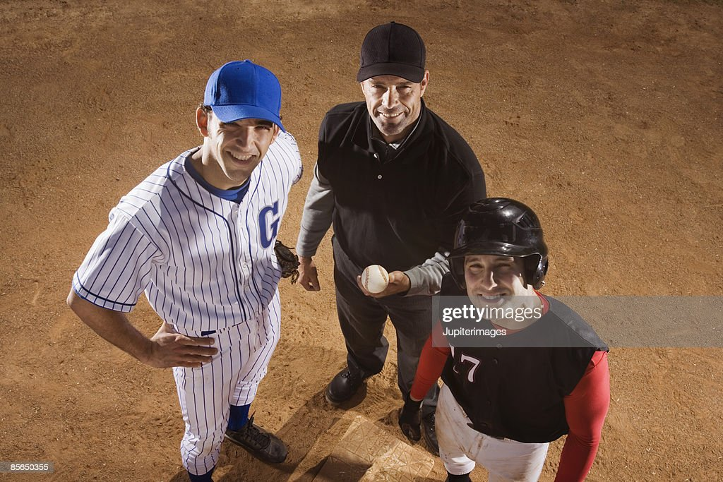 Portrait of baseball players and umpire : Stock Photo