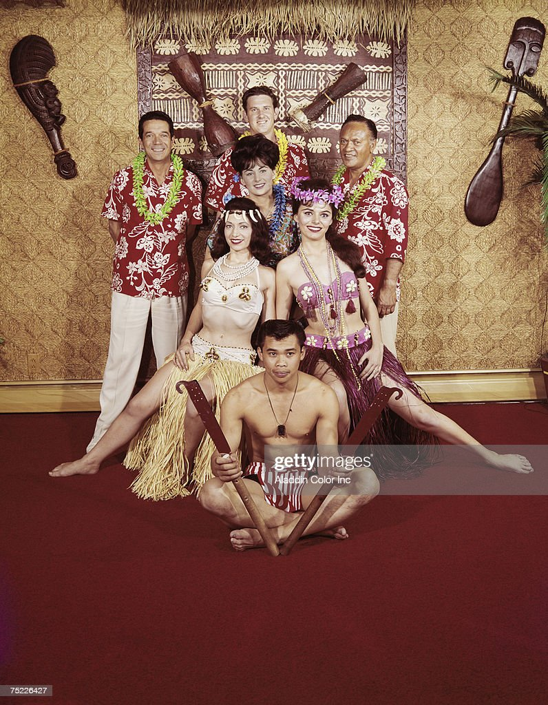 Portrait of Beachcomber Hotel staff members in Hawaii-style costumes, Harrisburg, Pennsylvania, late 1950s or 1960s.