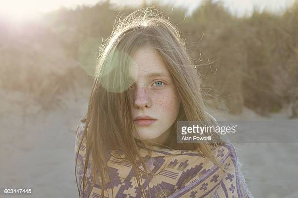 Portrait of beautiful 11 year old girl on beach