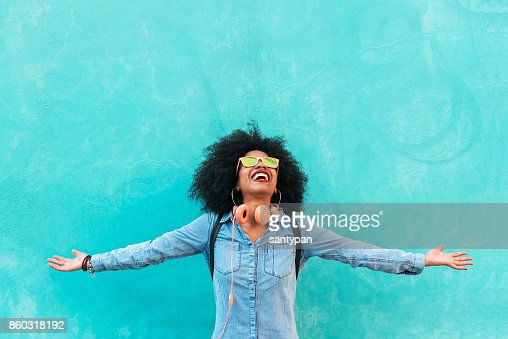 Portrait of beautiful afro american woman having fun. : Stock Photo