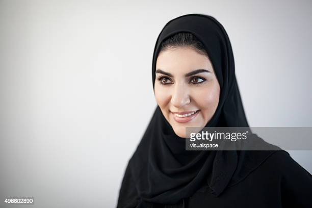 Portrait of Beautiful Arab Woman In Black Abaya