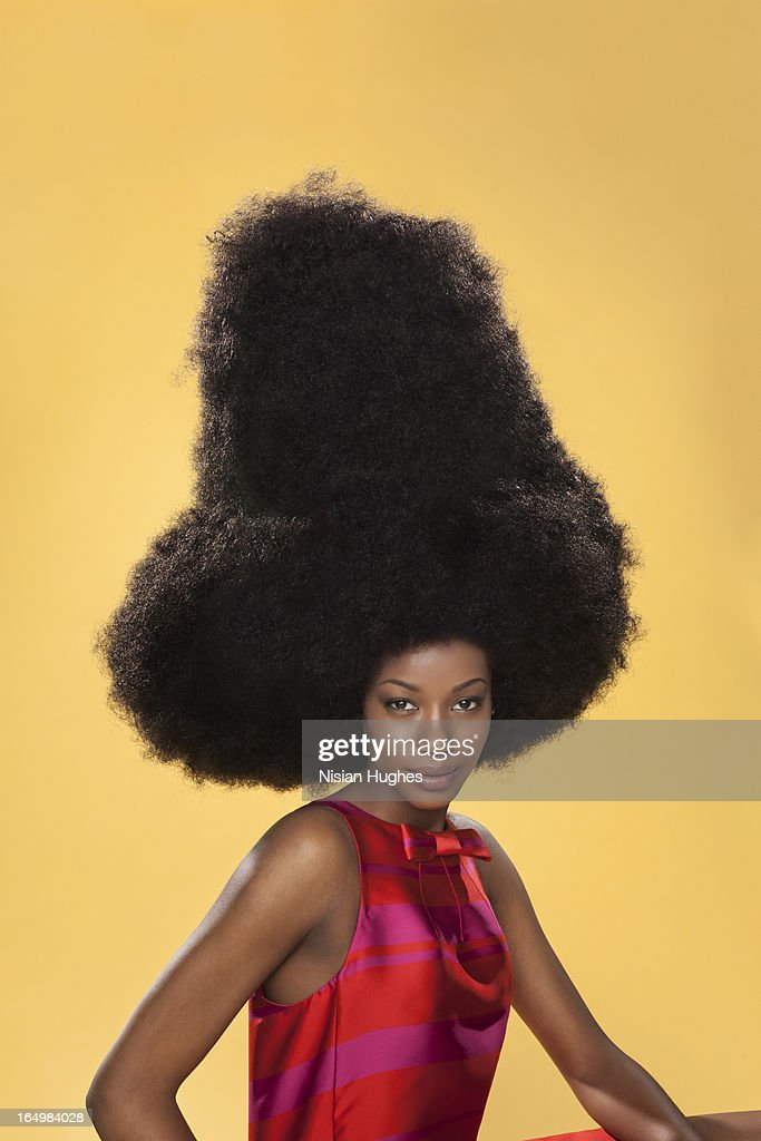 Portrait of beautiful black woman with large afro