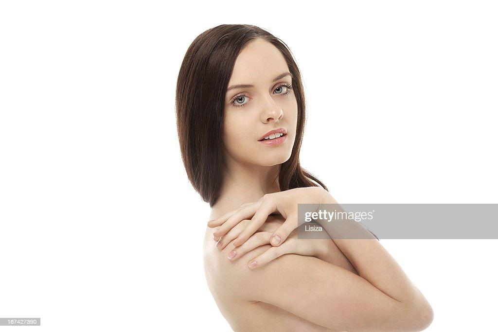 Porträt von schöne brunette Lächeln Mädchen : Stock-Foto