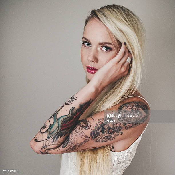 Portrait of beautiful woman with tattoes