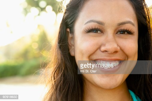Portrait of beautiful young woman at beach : Stock Photo