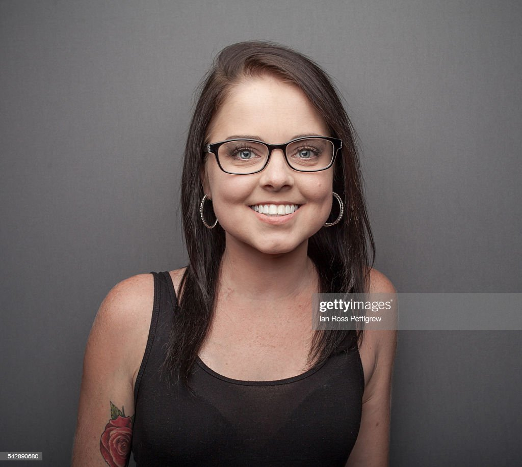 Portrait Of Beautiful Young Woman Glasses Stock Photo