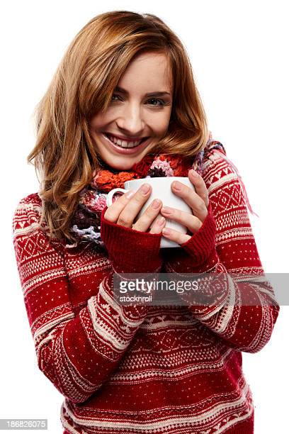 Portrait of beautiful young woman on white background with mug
