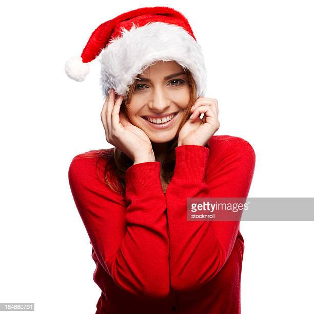 Portrait d'une belle jeune femme portant un Chapeau de Père Noël