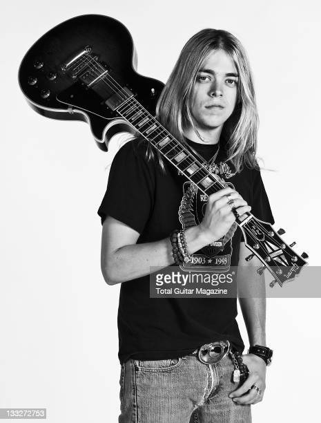 Portrait of Ben Wells from the band Black Stone Cherry with his Gibson Les Paul electric guitar taken on June 19 2008