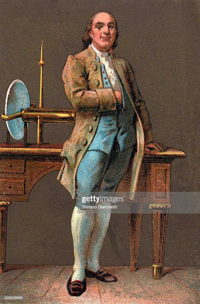 Portrait of <a gi-track='captionPersonalityLinkClicked' href=/galleries/search?phrase=Benjamin+Franklin&family=editorial&specificpeople=77750 ng-click='$event.stopPropagation()'>Benjamin Franklin</a>(1706-1790) American printer, publisher, scientist, inventor, statesman and diplomat. Chromolithography. Private collection