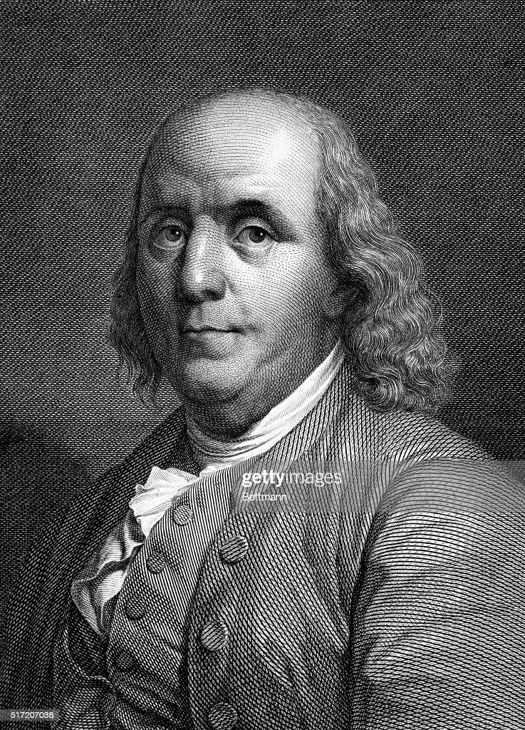Portrait of <a gi-track='captionPersonalityLinkClicked' href=/galleries/search?phrase=Benjamin+Franklin&family=editorial&specificpeople=77750 ng-click='$event.stopPropagation()'>Benjamin Franklin</a> (1706-1790), American Statesman, scientist and philosopher. Undated engraving.