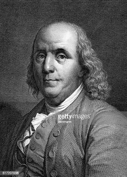 Portrait of Benjamin Franklin American Statesman scientist and philosopher Undated engraving