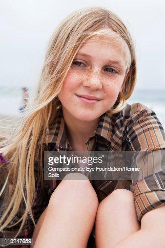 Portrait of blonde teenage girl : Stock Photo