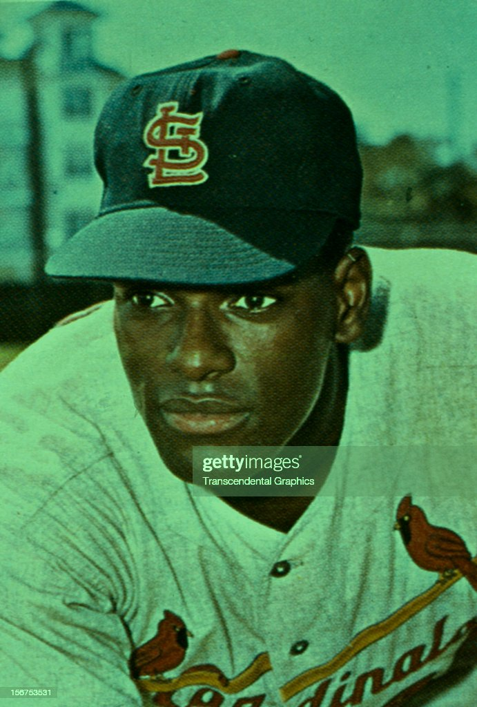 Portrait of Bob Gibson in color taken circa 1965 in St. Louis, Missouri.