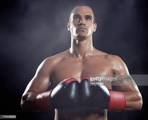 portrait of boxer with smoke