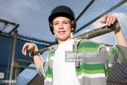 Portrait of Boy at Batting Cages