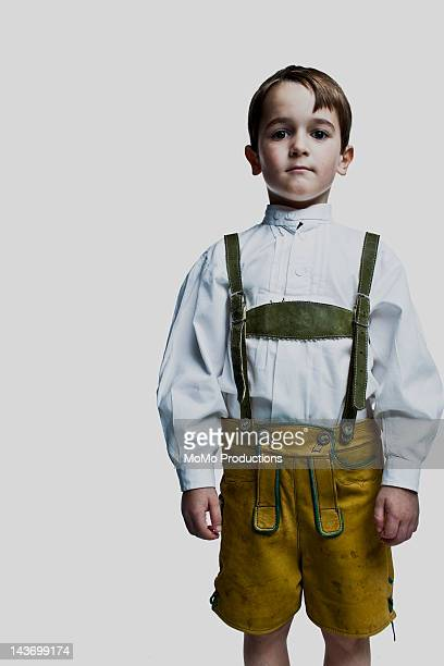 Portrait of boy (7yrs) in lederhosen