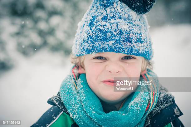 Portrait of boy in winter