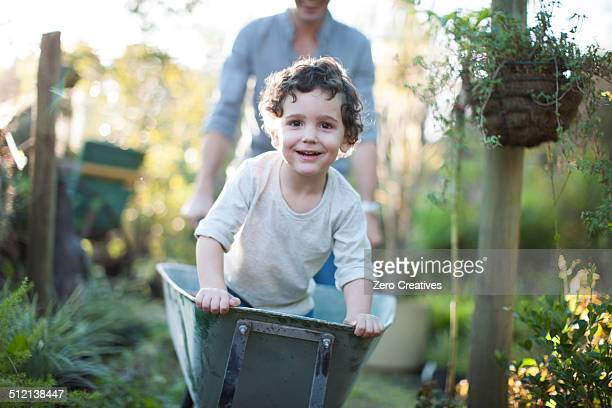 Portrait of boy riding in wheelbarrow on allotment