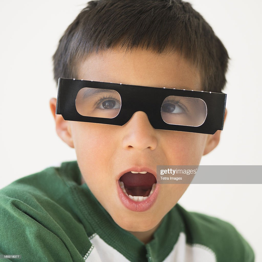 Portrait Of Boy Wearing 3d Glasses Stock Photo | Getty Images