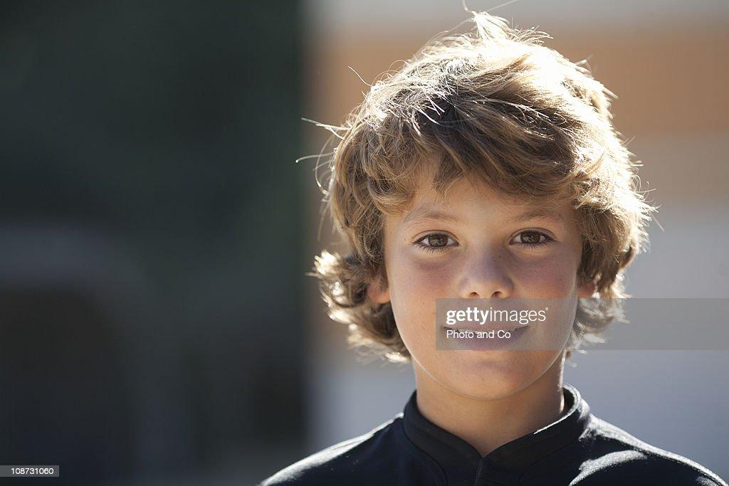Portrait of boy wearing sport uniform : Stock Photo