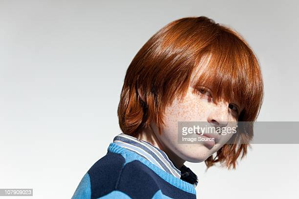 Portrait of boy with red hair