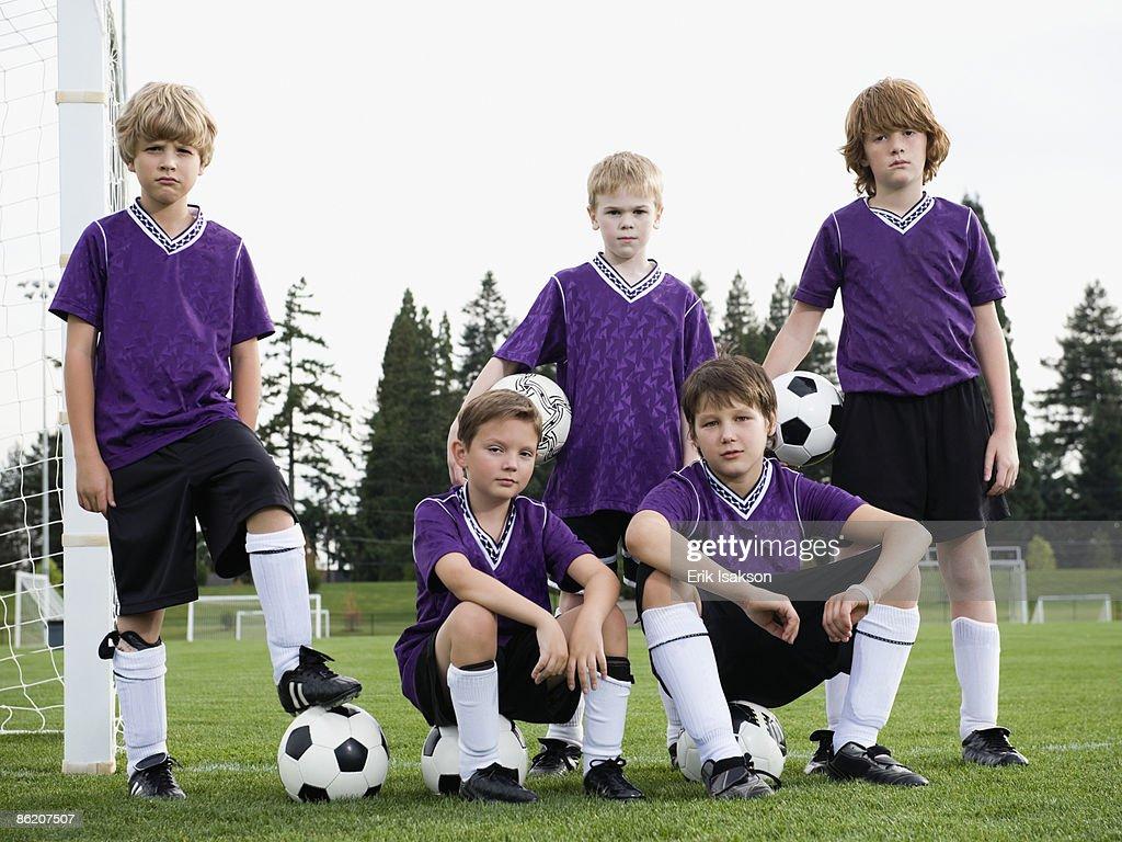 Portrait of boys soccer team : Stock Photo