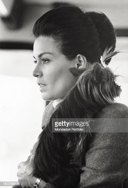 Portrait of Brazilian actress Florinda Bolkan with her Yorkshire Terrier Rooley Venice 1970s
