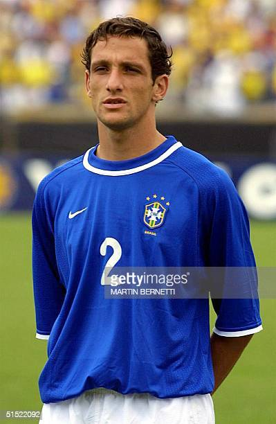 Portrait of Brazilian Juliano Belletti taken before a 2002 World Cup qualifying soccer match against Ecuador 29 March 2001 in Quito Both Brazil and...