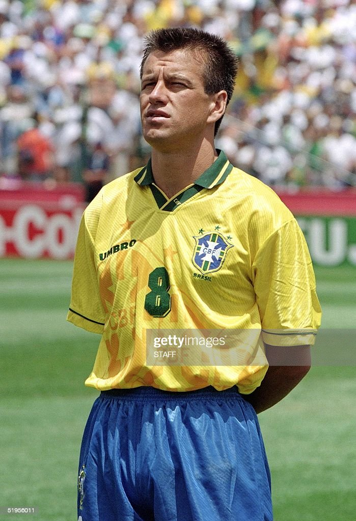 Portrait of Brazilian midfielder Dunga taken 24 June 1994 in Stanford before the World Cup first round soccer match between Brazil and Cameroon AFP...