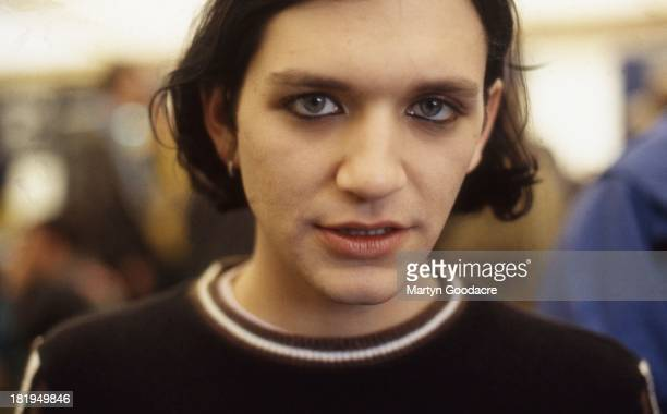 Portrait of Brian Molko of Placebo backstage Glastonbury 1997