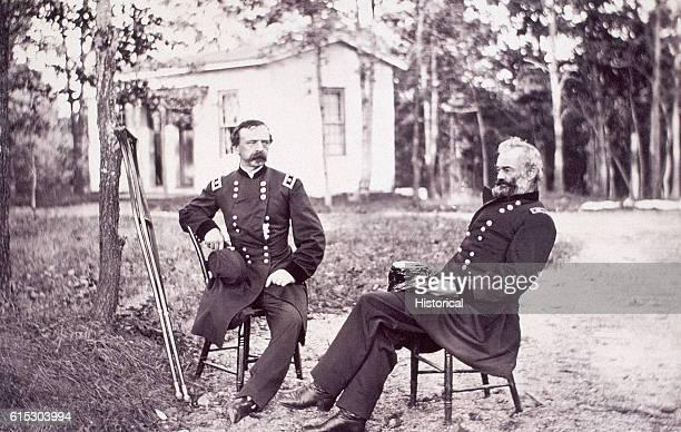 Portrait of Brigadier General Daniel Sickles who lost his leg at the Battle of Gettysburg and Major General Samuel P Heintzelman Ca 1863
