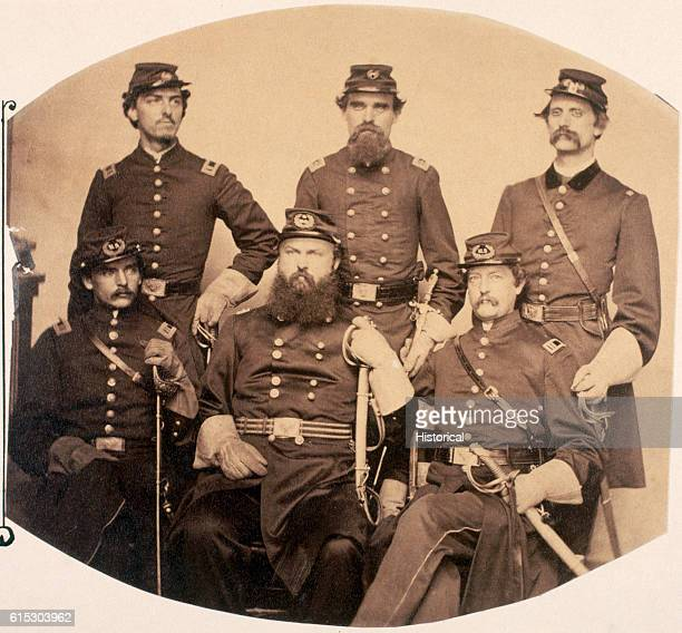 Portrait of Brigadier General John P Slough Union military governor at Alexandria Virginia with his staff during the American Civil War