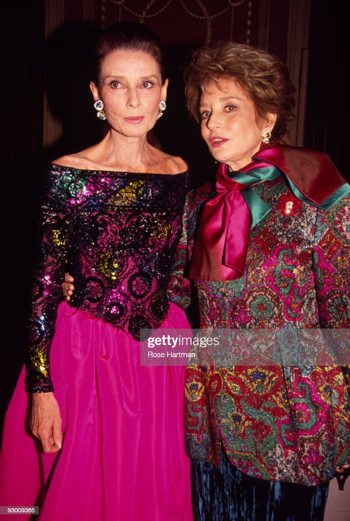 Portrait of British actress Audrey Hepburn (1929 - 1993) (left) and American broadcast journalist and television host Barbara Walters as they attend the 8th Annual Night of Stars Fashion Festival at the Waldorf Astoria Hotel in New York, New York, November 3, 1991.