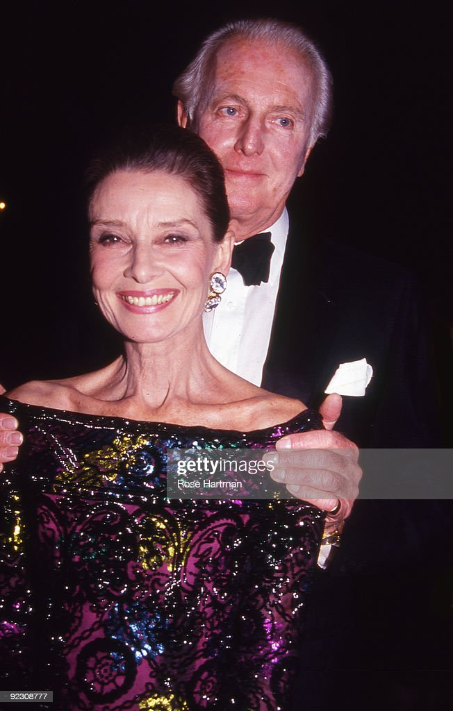 Portrait of British actress Audrey Hepburn (1929 - 1993) and French fashion designer Hubert de Givenchy as they attend the 8th Annual Night of Stars Fashion Festival at the Waldorf Astoria Hotel in New York, New York, November 3, 1991.