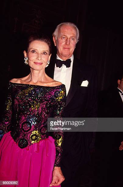 Portrait of British actress Audrey Hepburn and French fashion designer Hubert de Givenchy as they attend the 8th Annual Night of Stars Fashion...
