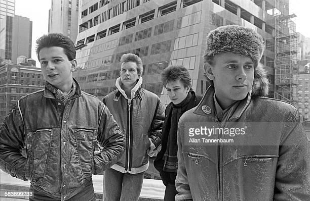 Portrait of British electronic group Depeche Mode at the beginning of their first world tour New York New York January 22 1982 Pictured are from left...