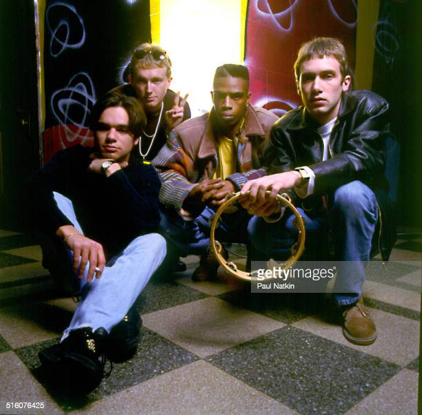 Portrait of British group Ocean Colour Scene as they pose backstage Chicago Illinois October 1 1992 Pictured are from left Damon Minchella Steve...
