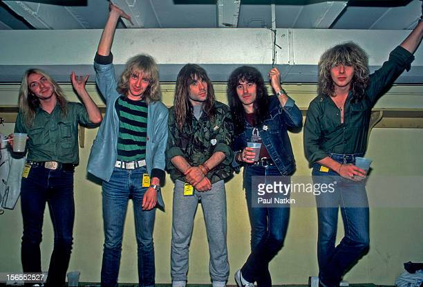 Portrait of British heavy metal band Iron Maiden backstage at the Rosemont Horizon during their Beast on the Road Tour Chicago Illinois September 21...