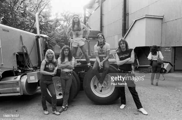 Portrait of British heavy metal band Iron Maiden backstage at the Alpine Valley Music Theater during their World Piece Tour East Troy Wisconsin...