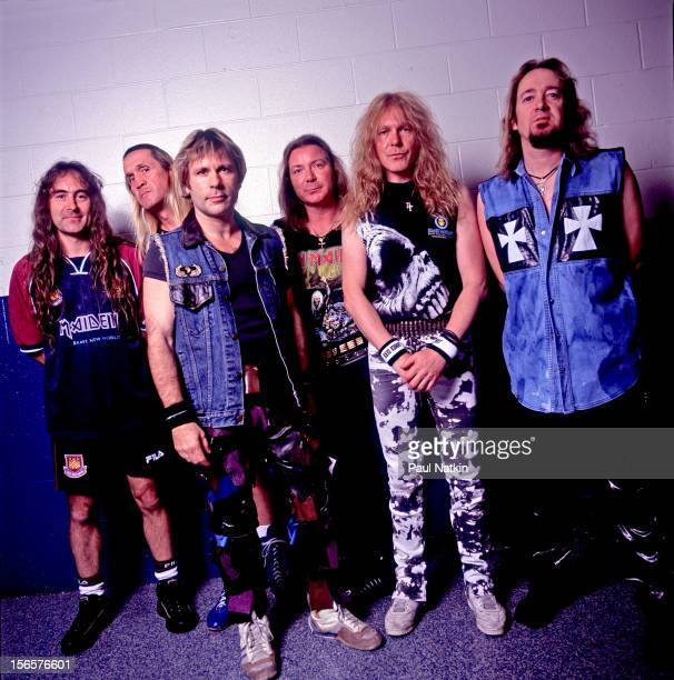 Portrait of British heavy metal band Iron Maiden backstage at the UIC Pavillion during their Brave New World Tour Chicago Illinois October 17 2000...