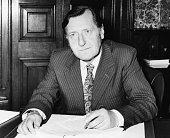 Portrait of British Minister of State David Ennals at his desk March 13th 1974