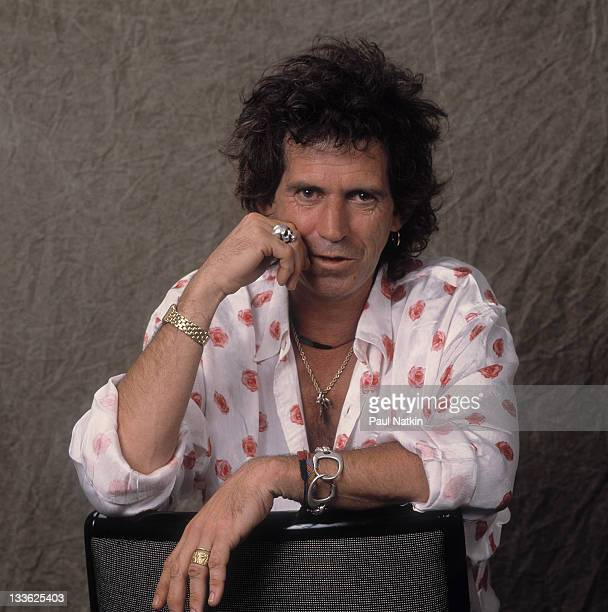 Portrait of British musician Keith Richards as he lean on the back of a chair Los Angeles California September 1989