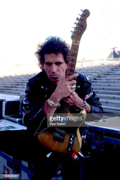 Portrait of British musician Keith Richards of the Rolling Stones on stage before a performance on the band's 'Steel Wheels' tour late 1989