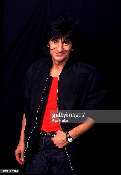 Portrait of British musician Ron Wood backstage at the Riviera Theater before a performance Chicago Illinois November 5 1987