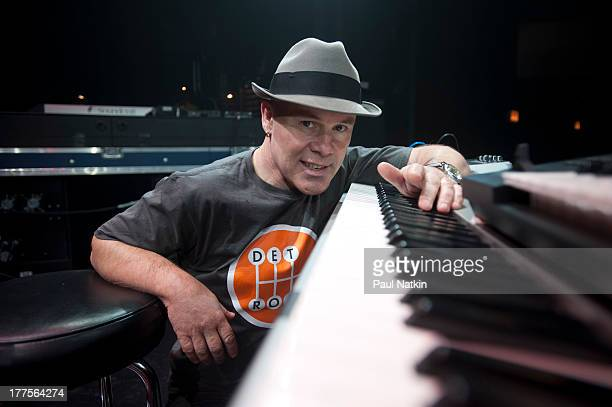Portrait of British musician Thomas Dolby as he poses with a keyword at the Park West Theater Chicago Illinois April 5 2012