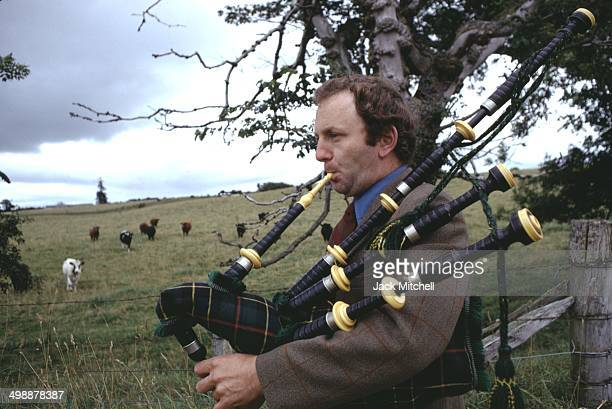 Portrait of British pop artist Gerald Laing at his home a castle in the Scottish Highlands Scotland 1970