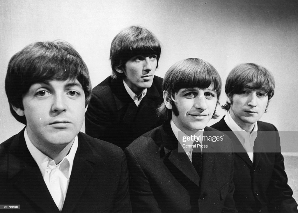 Portrait of British pop group The Beatles (L-R) <a gi-track='captionPersonalityLinkClicked' href=/galleries/search?phrase=Paul+McCartney&family=editorial&specificpeople=92298 ng-click='$event.stopPropagation()'>Paul McCartney</a>, <a gi-track='captionPersonalityLinkClicked' href=/galleries/search?phrase=George+Harrison&family=editorial&specificpeople=90945 ng-click='$event.stopPropagation()'>George Harrison</a> (1943 - 2001), Ringo Starr and John Lennon (1940 - 1980) at the BBC Television Studios in London before the start of their world tour, June 17, 1966.