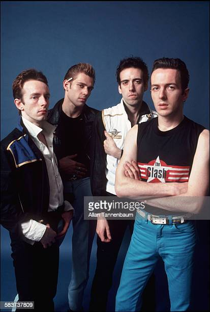 Portrait of British punk rock group the Clash from left Topper Headon Paul Simenon Mick Jones and Joe Strummer as they pose in the studio New York...